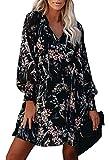 Pink Queen Women's Floral Printed Boho Casual V Neck Long Sleeve Mini Dress Pocket Black Large