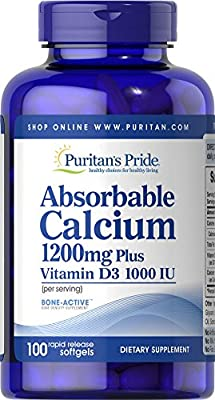 Puritan's Pride Absorbable Calcium with Vitamin D 1000 IU Softgels, 1200 mg, 100 Count