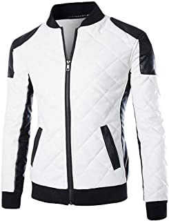 Cloudstyle Men's Latticed Baseball Bomber Jacket Slim Fit Coat White Black