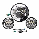 7 Inch Led Headlight Daymaker+ 4.5 Inch Fog Lights for Harley Davidson Motorcycle (Silver)
