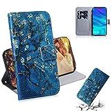 GLXC AYDD Abricot Motif de Fleurs de Couleur Dessin de Couleur Horizontal Flip en Cuir pour Huawei P...