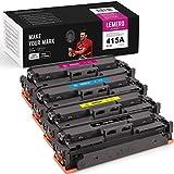LEMEROUexpect - Cartucho de tóner compatible 415A W2030A W2031A W2032A W2033A para HP Color Laserjet Pro MFP M479fdw M479dw M479fdn M454dw M454dn, paquete de 4