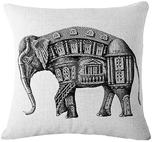 Bernice Winifred Acuarela Bosque Reptil Elefante Caballo Leopardo algodón Lino Tiro Fundas de Almohada Funda cojín sofá Decorativo Cuadrado (6) -4(18×18)