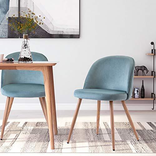 2 Set Esszimmerstühle Vintager Retro Stuhl Sessel Polstersessel Polsterstuhl Samt Lounge Sessel Clubsessel Fernsehsessel (blau)