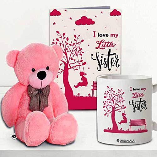 Jhingalala Gift for Sister | Teddy Bear with I Love My Little Sister Printed Coffee Mug and Greeting Card | Combo Gifts for Sister...