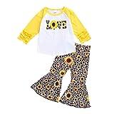Conjunto de Ropa Primavera Verano para Niñas Traje de Dos Piezas Camisa con Mangas Largas con Volantes Pantalones Largos con Dibujos de Leopardo y Girasol para Chicas (Amarillo, 3-4 Años)