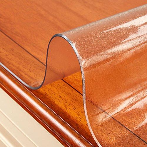 HM&DX Kunststoff Gefrostet Tischdecken Geldklammer Wasserdicht Ölfreie Schmutzabweisend Weiche 2mm dicken Tisch-Abdeckung Essen Kaffee tischbelag-Matt 90x160cm(35x63inch)