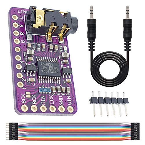 Youmile PCM5102 DAC Decodermodul I2S Schnittstelle GY PCM5102 PHAT Format Player Karte Digital-Analog Wandler Sprachmodul für Arduino, Raspberry Pi mit 3.5mm Klinken Audiokabel, Dupont Kabel