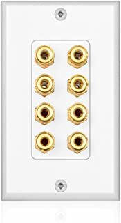 TNP Home Theater Speaker Wall Plate Outlet - 4 Speaker Sound Audio Distribution Panel Gold Plated Copper Banana Plug Binding Post Connector Insert Jack Coupler (4 Pair, Single Gang, White)