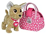 Smoby - Chichi Love Showstar Happy - Chien Peluche Interactive - Réagit à 12 Ordres - Sac de Transport + Collier - Piles Incluses - 105893110002