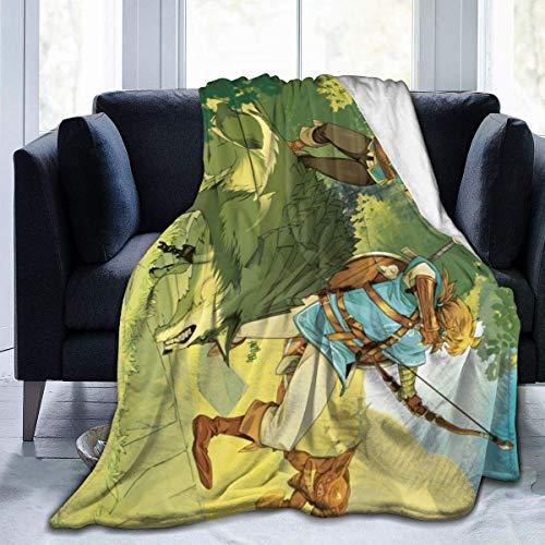 BigHappyShop Legend of Zelda Botw Ultra-Soft Micro Fleece Blanket Throw Super Soft Anti-Pilling Lightweight Sofa Plush Bed Couch Living Room