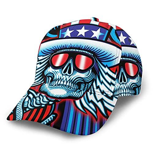 MZZhuBao Cráneo con gafas gorra de béisbol Hip Hop ajustable cómodo hermoso sombra deportes ocio hombres mujeres moda al aire libre diario fiesta negro