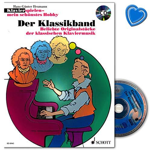 De klassieke band - piano spelen mijn mooiste hobby - originele stukken van de klassieke piano muziek notenboek met kleurrijke hartvormige muziekklem