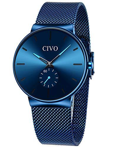 CIVO Relojes Hombre Ultrafino Minimalista Impermeable Reloj de Pulsera para Hombre de Malla de Acero Inoxidable Relojes para Hombre Analógicos Azul Simple Negocios Elegante Vestido