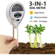 [2018 Upgraded] Soil Moisture Meter - 3 in 1 Soil Test Kit Gardening Tools for PH, Light & Moisture, Plant Tester for Home, Farm, Lawn, Indoor & Outdoor (No Battery Needed)