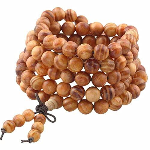 108 8mm budista tibetano mala pulsera envuelta perla de oración de madera natural para meditación-Madera de sangre emperadora