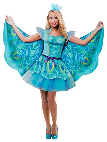 Brandsseller Damen Kostüm Verkleidung für Karneval Fasching Halloween Parties - Pfau, L/XL