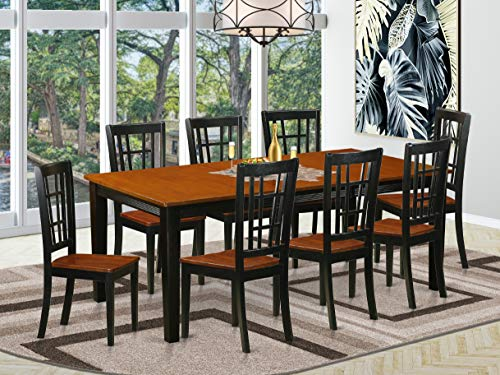 EAST WEST FURNITURE 9 PC Dining room set-Dining Table with 8 Wooden Dining Chairs