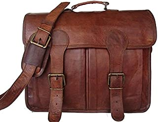TUZECH Pure Leather Unisex Office Formal Travel Brown Laptop Messenger Bag - Fits Laptop Upto 15.6 Inches
