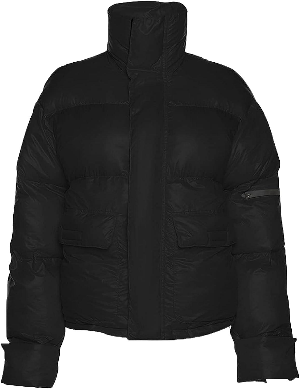 Women's Winter Puffer Down Jacket Long Sleeve Zipper Front Quilted Pockets Baggy Short Coats