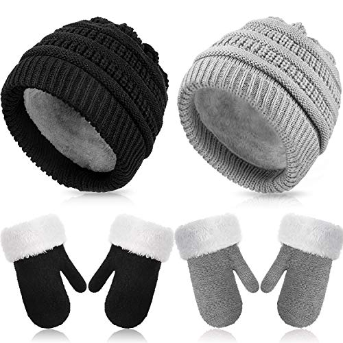 2 Sets Winter Hat and Mitten Gloves Set Warm Fleece Lined Knit Beanie Hat Gloves (Black and Grey)
