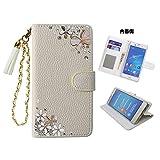 「kaupili」 AQUOS Phone ZETA (SH-01F)ケース 鏡/ミラー付き カード収納 スタンド機能 手帳型 お財布機能付き 化粧鏡付き