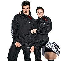 VeroMan メンズ サウナスーツ 上下セット サウナパンツ トレーニングウェア 超発汗 ダイエット (ブラック, XL)