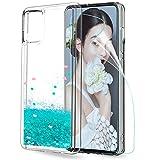 LeYi Funda Samsung Galaxy A51 Silicona Purpurina Carcasa con HD Protector de Pantalla, Transparente Cristal Bumper Telefono Gel TPU Fundas Case Cover para Movil A51 ZX Verde
