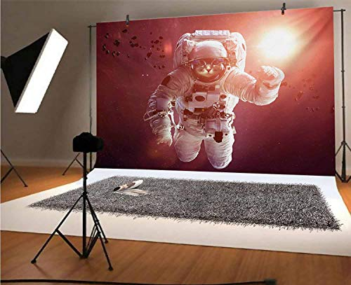 Space Cat 10x6.5 FT Vinyl Photo Backdrops,Pet Cat in Outer Space Planet Meteors Galaxy with Astronaut Suit Image Background for Selfie Birthday Party Pictures Photo Booth Shoot