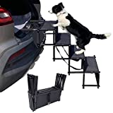 maxpama Increased Nonslip Dog Car 4 Steps for SUV, Trucks,Couch and High Beds - Durable Metal Frame Pet Stairs Support up to 150 Lbs - Lightweight Folding Pet Ladder Ramp for Indoor Outdoor Use,Black,