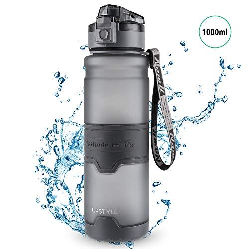 homeasy Auslaufsichere Trinkflasche 1000ml Fitness Wasserflasche mit Großer Öffnung Gym Trinflasche BPA-Frei in Schwarz für Unterwegs, Gym und Outdoor