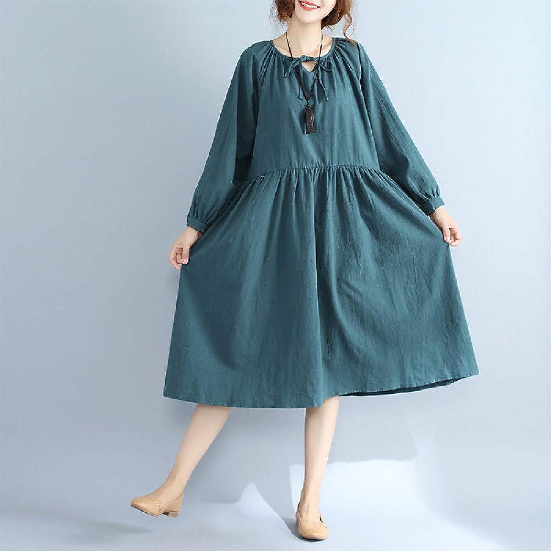 Cxlyq Dresses White Cotton Long Skirt Long Sleeve Dress Lace Autumn Large Size Women's Clothing