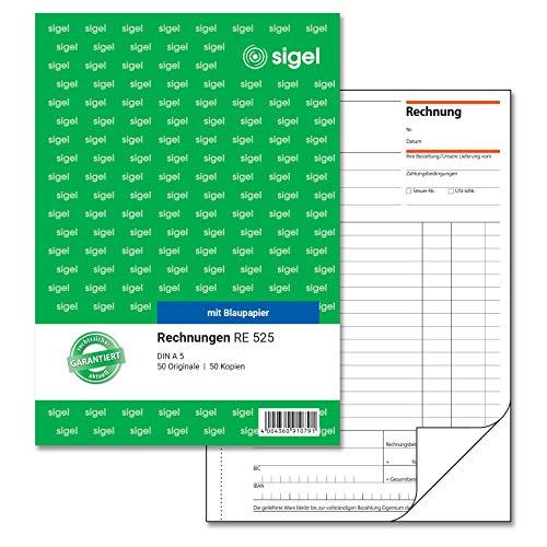 SIGEL RE525 Rechnungen A5, 2x50 Blatt