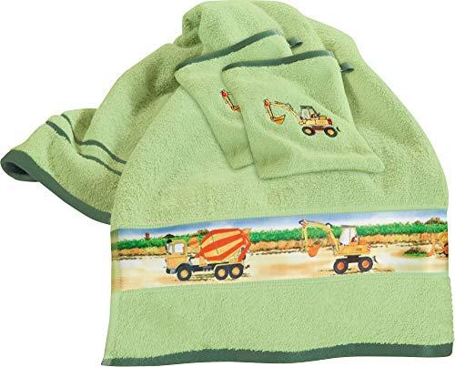 Erwin Müller Kinder-Frottier-Set, Handtuch-Set Traktor 3-TLG. Bagger grün Größe 50x100 cm + 15x21 cm - Handtuch und 2X Waschlappen, 100% Baumwolle, mit Webbordüre