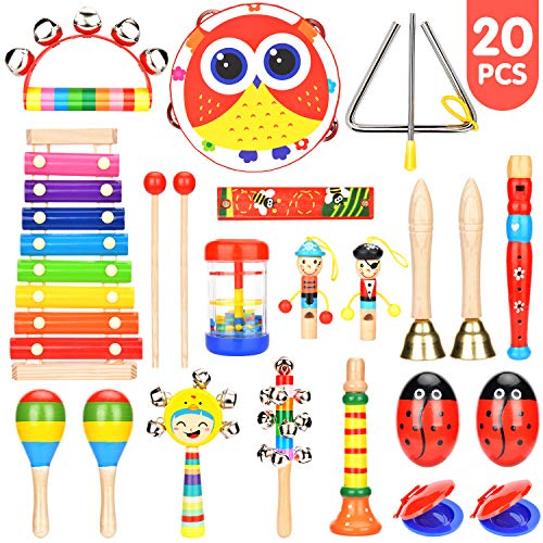 Elover Musical Instruments for Toddlers 15 Types 20 PCS Wooden Percussion Instrument Toys Early Learning Musical Toys Set for Boys Girls with Storage Backpack