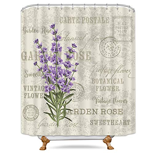 Riyidecor Lavender Vintage Shower Curtain Flowers Stall Floral Grunge Herbs Leaves Purple Beige Decor Fabric Polyester Waterproof Fabric 72Wx72H Inch 12 Pack Plastic Hooks Included