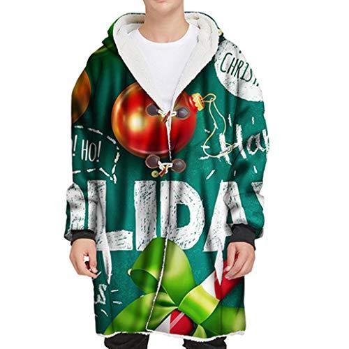 CICIYONER Weihnachten Herren Warm Kapuzejacken Männer Winter Pullover Lange Kapuze Horn Schnalle Plus samt dicken 3D Druck Weihnachten Elk Schneemann Weihnachtsmann Mantel (XXL, Grün1)