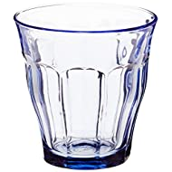 Duralex Made in France Prisme Marine Glass Tumbler Drinking Glasses, 8.75 ounce - Set of 6, Marine Blue