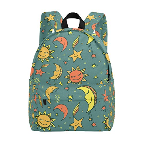 COOSUN Sun Moon and Stars Pattern Lightweight School Classic Backpack Travel Rucksack for Girls Women Kids Teens