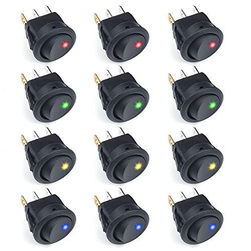 ZOEON 12 Pcs Interruptor de palanca Coche 12V 20A Iluminado ON-OFF LED Interruptor Basculante Redondo