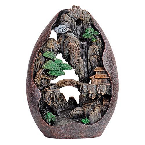 FINIVE Quemador de incienso de cascada con 50 conos de incienso, soporte de incienso en forma de río de montaña, quemador de incienso de cerámica para decoración de casa de té – 1