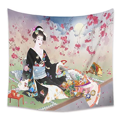 ZDDBD Mujer en Kimono Mandala Tapiz decoración de Estilo Bohemio Colgante de Pared decoración de la habitación L / 148X200cm (58'X79