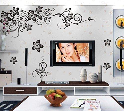 COVPAW® Wandtattoo Wandaufkleber XXL Blumen Ranke Wandsticker Wandbild Bilder Wohnzimmer Schlafzimmer Home Wand Deco