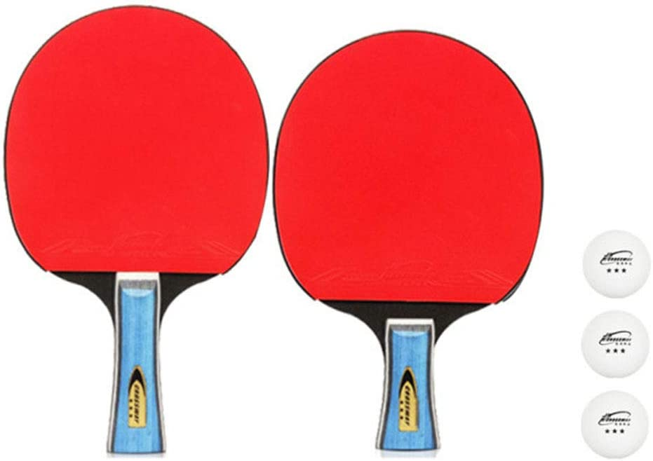 Weijl Juego de 2 Jugadores de Raquetas de Tenis de Mesa, 2 Palas/Raquetas, 3 Pelotas de Ping Pong de Calidad, Superficie de Goma roja y Negra, Ideal para Principiantes y niños