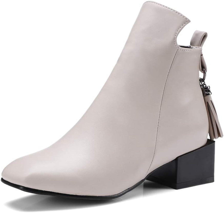 KEREE Women's Square Toe Chelsea Ankle Boots Fashion Tassel Mid Heel Zipper Western Fringe Short Booties