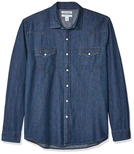 Amazon Essentials - Camisa tejana de manga larga y corte recto para hombre, Azul medio, US S (EU S)