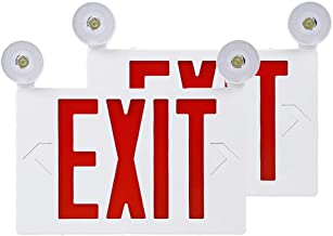 Auzzlife UL Listed LED Exit Sign with Emergency Lights Top/Side Mount, AC 120V/270V Backup Battery Included, Red Emergency Exit Lighting Commercial Grade High Output, Fire Resistant (Pack of 2)