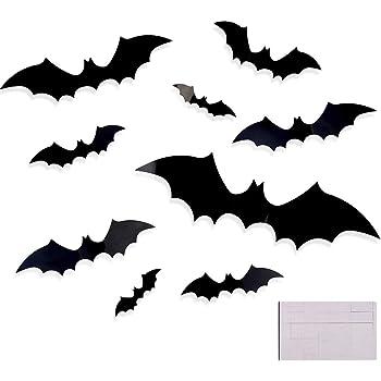 CCINEE 48pcs Halloween 3D Bat Wall Decals Stickers Extra Large Black Bats Window Door Decals Halloween Party Decoration Supply