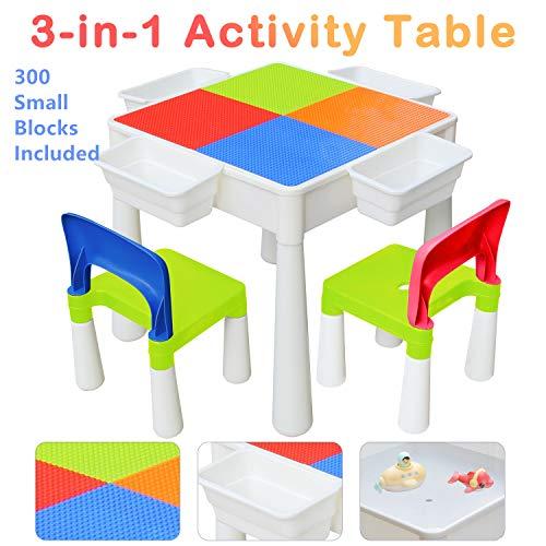 KORIMEFA Kindertisch mit Stühle Set 3 in 1 Kompatibles Multi Aktivitätstisch Set für Kinder Baustein Tisch Basteltisch für Kinder Baby (mit 300 Stück Little Blocks, Classic)
