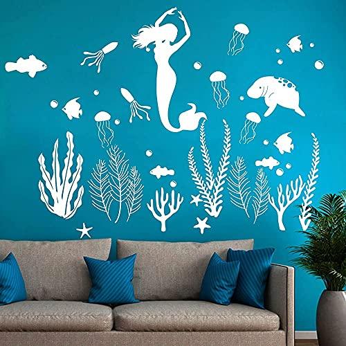 DOUMAISHOP Etiqueta De La Pared Grande Bajo El Mar, Océano Peces Algas Marinas Medusas Animal Vinilo Adhesivo Mural Artístico, Etiqueta De Baño B-36